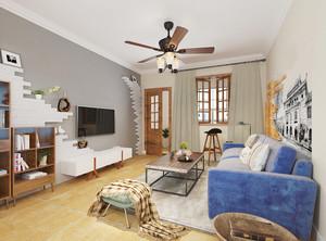 现代简约美式风格两室两厅两卫装修效果图