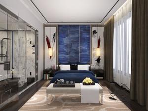 新中式风格主卧室卫生间隔断设计装修效果图