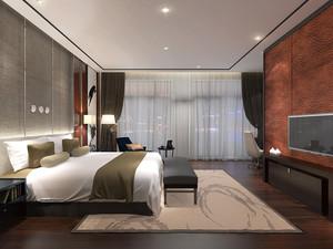 后现代风格大户型室内卧室窗帘设计装修效果图
