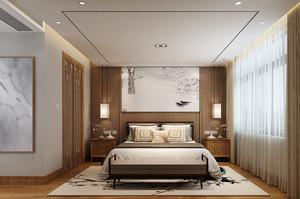 新中式风格卧室窗帘装修效果图赏析