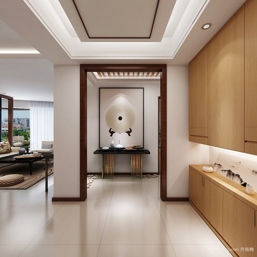 新中式风格大户型入户式玄关柜装修效果图