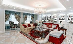 法式风格别墅客厅家装酒柜设计效果图赏析