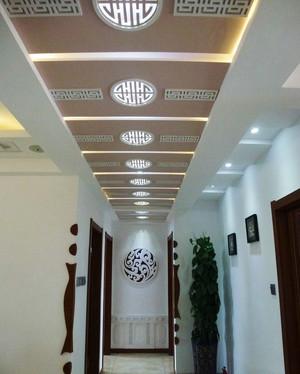 154平米现代中式风格家装过道吊顶装修效果图