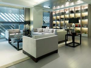 120平米现代简约风格客厅创意书架设计效果图