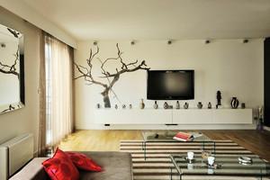 80平米北欧风格客厅电视背景墙设计效果图