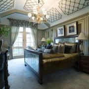 145平米美式风格卧室吊顶设计装修效果图