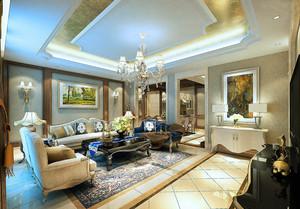 欧式风格大户型家装客厅吊顶设计效果图赏析