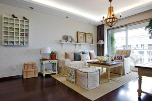 90平米欧式田园风格客厅装修设计效果图赏析