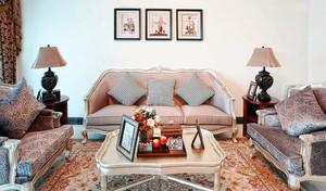 70平米欧式田园风格客厅沙发背景墙设计效果图