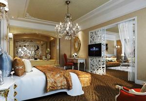 32平米欧式风格卧室推拉门设计效果图赏析