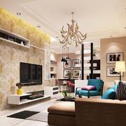 现代风格三居室客厅电视背景墙设计效果图