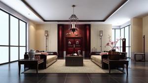 110平米中式风格会客厅装修效果图鉴赏