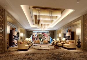 142平米经典中式风格会客厅设计装修效果图