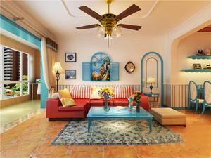 地中海风格三居室室内装修效果图鉴赏