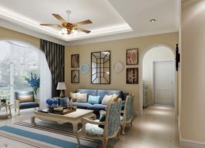 地中海风格二居室家装客厅吊顶装修效果图