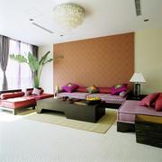 东南亚风格小户型客厅沙发背景墙设计效果图鉴赏