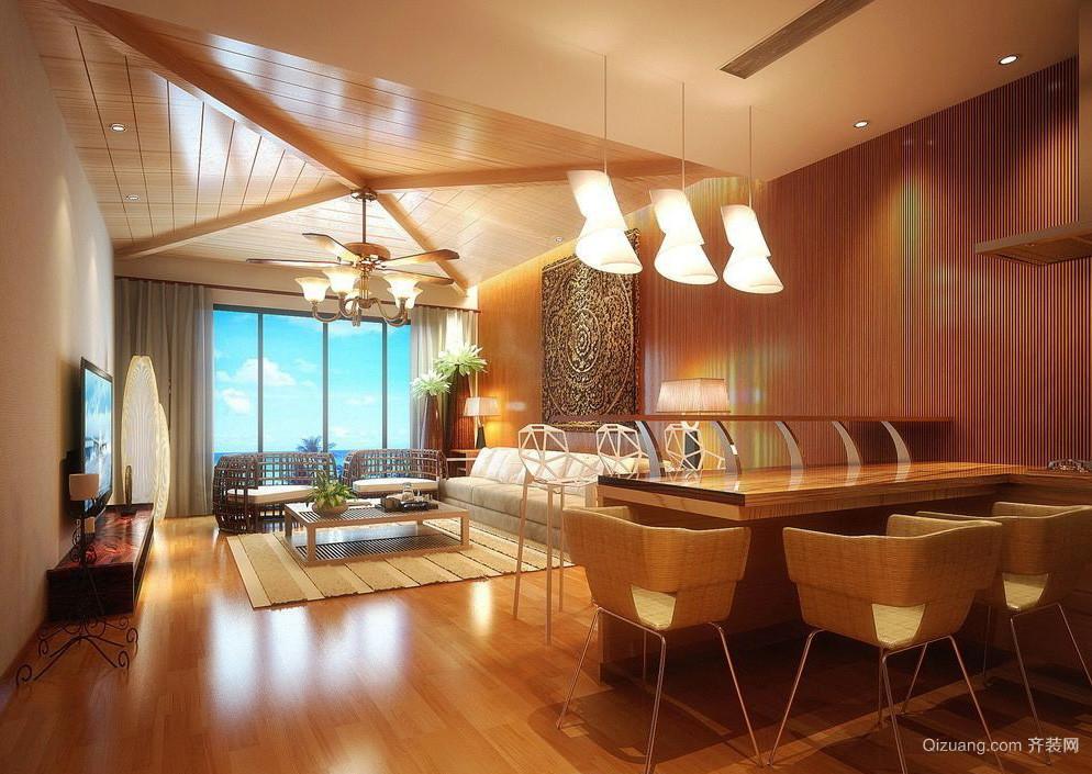 东南亚风格大户型客厅家装实木吊顶装修效果图