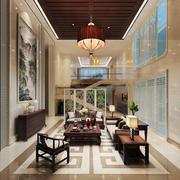 中式风格复式楼客厅吊顶装修效果图鉴赏