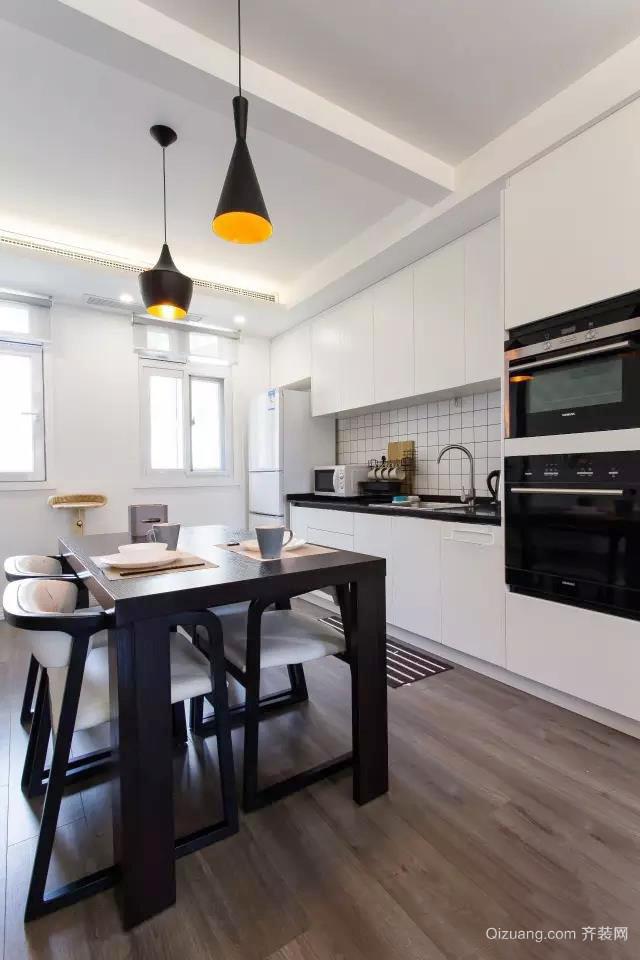 北欧风格一居室开放式厨房吧台设计效果图