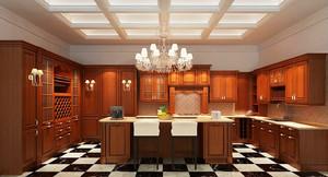 153平米欧式风格开放式厨房吧台设计效果图
