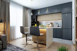 现代简约风格二居室灰色厨房设计效果图赏析