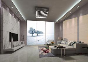 145平米现代简约风格客厅吸顶灯设计效果图