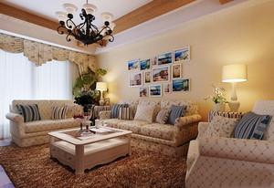 110平米美式田园风格客厅照片墙设计效果图