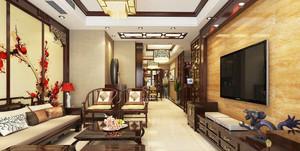 120平米中式风格客厅足彩导航效果图赏析
