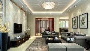中式风格三居室客厅大理石电视背景墙设计效果图
