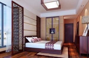 29平米中式风格卧室阳台隔断设计效果图鉴赏