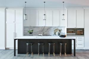 80平米后现代风格开放式厨房吧台设计效果图