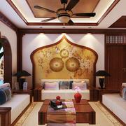 142平米东南亚风格客厅沙发背景墙设计效果图