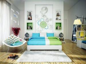 25平米都市简约风格卧室背景墙设计效果图