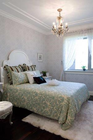 简欧风格三居室卧室墙纸装修效果图赏析