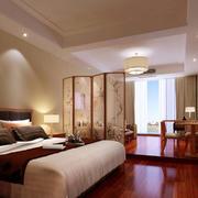 新中式风格一居室客厅卧室屏风隔断设计效果图