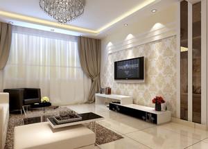 现代简约风格二居室客厅装修墙纸效果图鉴赏