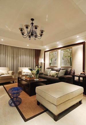 现代美式风格大户型客厅家装吊顶装修效果图