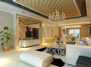 139平米欧式风格客厅吊灯设计效果图赏析