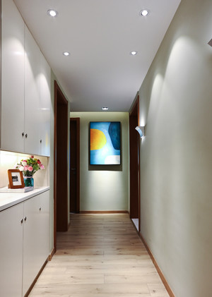 130平米中式风格过道玄关柜设计效果图赏析