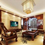 144平米中式风格客厅吸顶灯设计效果图赏析