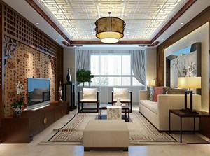 42平米中式风格客厅吊顶装修效果图鉴赏