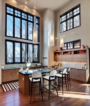 现代美式风格大户型开放式厨房吧台设计效果图