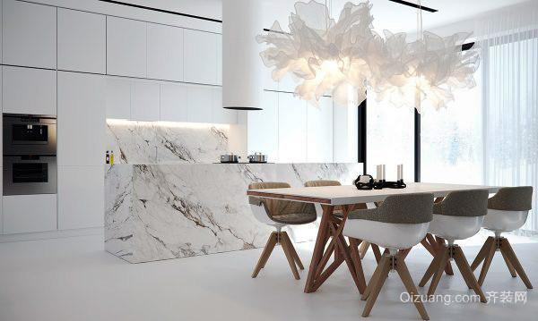 北欧风格大户型开放式大理石厨房装修效果图图片