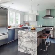 后现代风格三居室开放式厨房吧台设计装修效果图