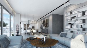 后现代极简主义风格三室一厅室内装修效果图