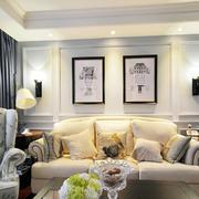 美式风格二居室客厅沙发照片墙设计效果图赏析