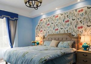 33平米美式田园风格主卧室背景墙装修效果图赏析