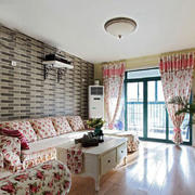 欧式田园风格二居室客厅窗帘设计效果图赏析