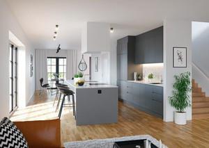 现代极简主义风格复式楼厨房装修设计效果图