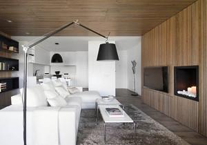 现代loft风格单身公寓客厅电视背景墙设计效果图